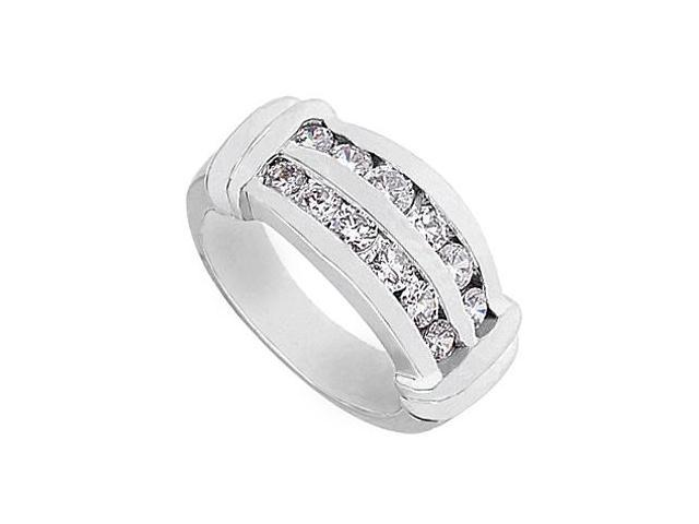 14K White Gold Channel Set Fashion Cubic Zirconia Ring with 1 Carat Total Gem Weight