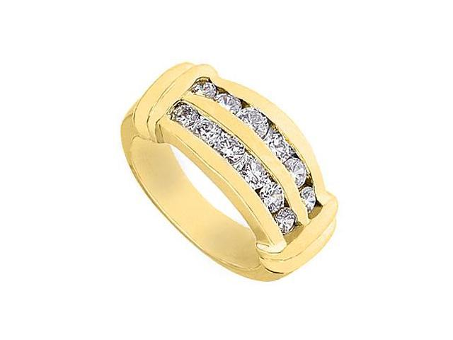 14K Yellow Gold Channel Set Fashion Cubic Zirconia Ring with 1 Carat Total Gem Weight
