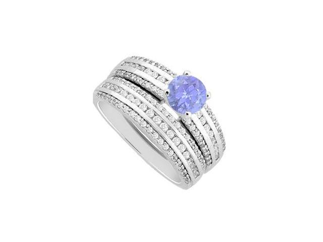 Tanzanite and Diamond Engagement Ring with Wedding Band Sets in 14K White Gold 1.50 Carat