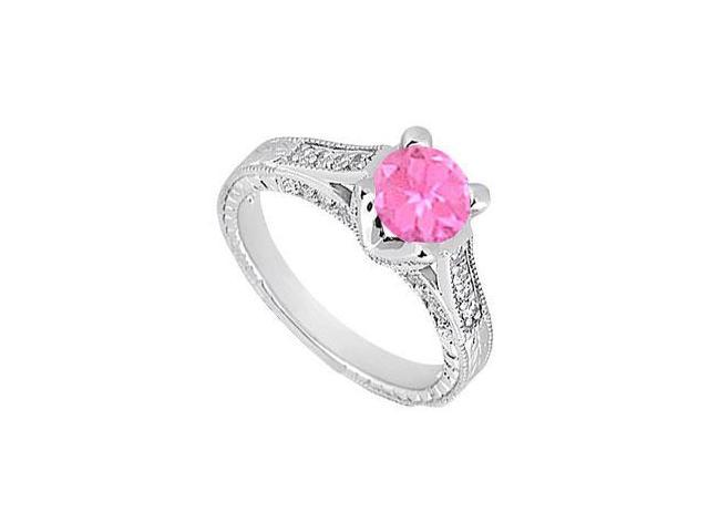 Created Pink Sapphire and Cubic Zirconia Engagement Ring .925 Sterling Silver 1.00 CT TGW