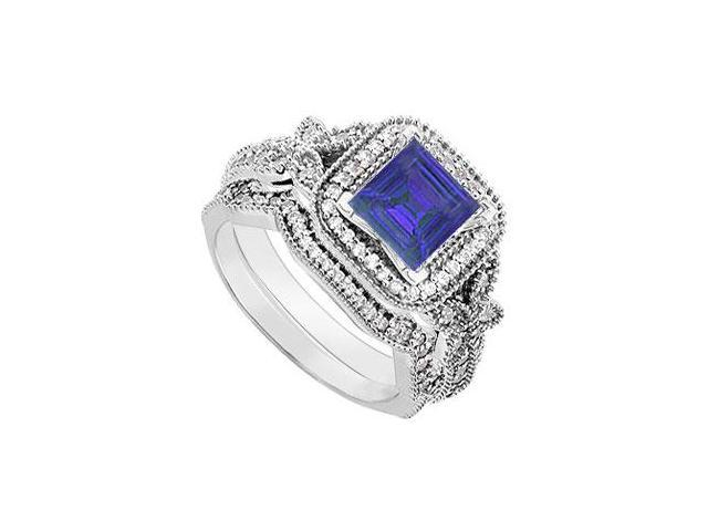 14K White Gold Blue Sapphire  Diamond Engagement Ring with Wedding Band Sets 0.80 CT TGW