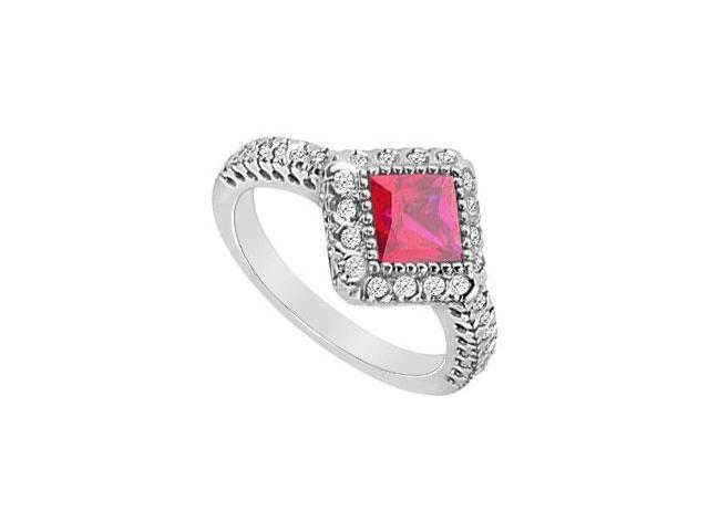 GF Bangkok Ruby and Cubic Zirconia Ring 10K White Gold  1.50 Carat Total Gem Weight