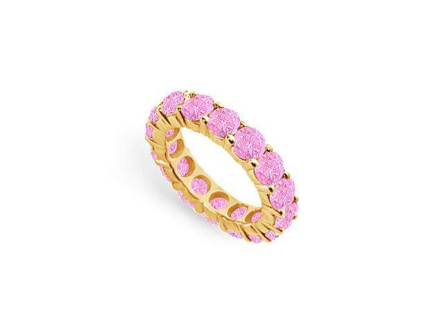 Created Pink Sapphire Eternity Ring Stackable Band 18K Yellow Gold Vermeil. 9ct.tw