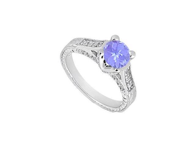 Created Tanzanite and Cubic Zirconia Engagement Ring .925 Sterling Silver 1.00 CT TGW