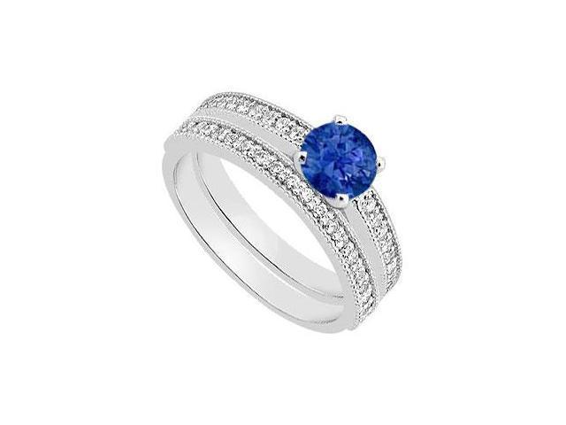 14K White Gold Blue Sapphire Engagement Ring with Diamond Wedding Rings 1.15 Carat TGW