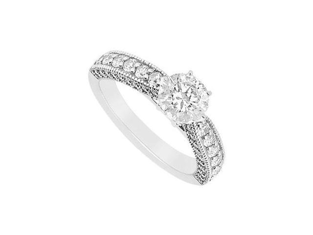 One Carat Engagement Ring in 14K White Gold of Triple AAA Quality Cubic Zirconia