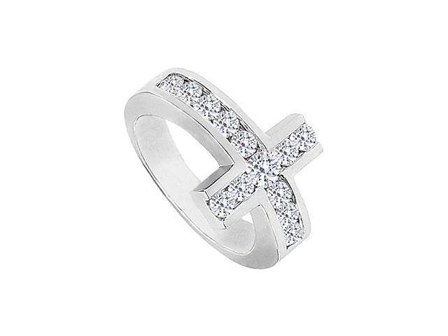 Sideways Cross Ring with Cubic Zirconia Channel Set in 14K White Gold 1.50 Carat Totaling