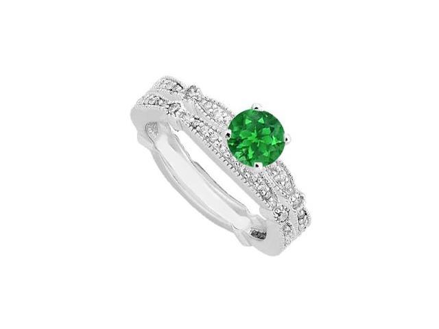 Diamond and Emerald Engagement Ring in 14K White Gold Total Gem Weight 1.35 Carat