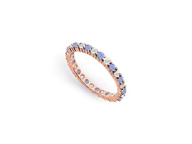 CZ and Created Tanzanite Eternity Band in 14K Rose Gold Vermeil 1CT. TGW.