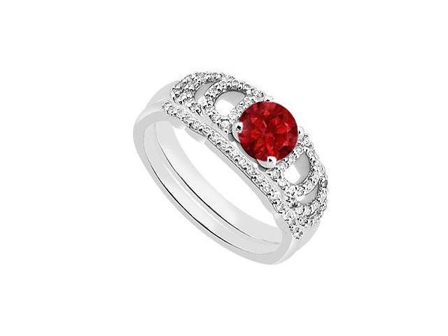 14K White Gold Natural Ruby Engagement Ring with Diamond Wedding Ring Sets of 1.10 Carat TGW