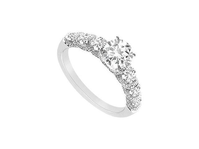 Triple AAA Quality CZ 1 Carat Engagement Ring in 14K White Gold Finish