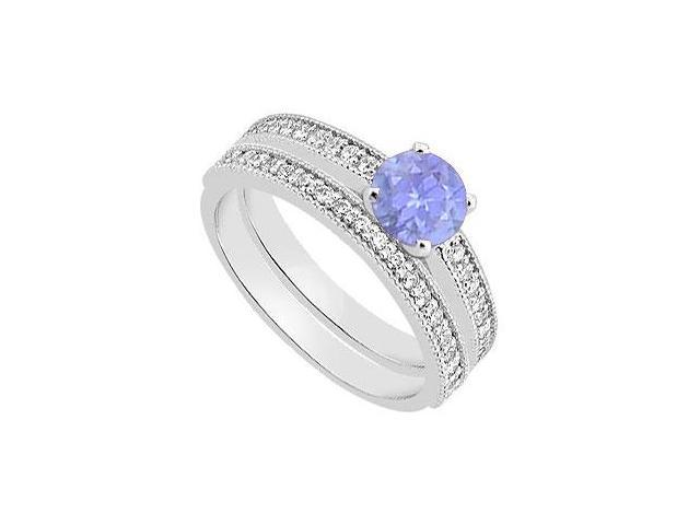 Diamond and Tanzanite Engagement Ring with Wedding Band in 14K White Gold 1.15 Carat TGW