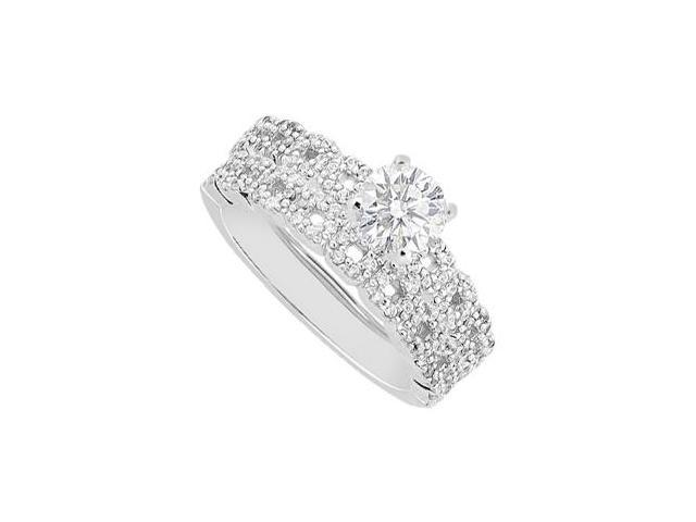 Diamond Engagement Ring with Wedding Band Sets in 14K White Gold One Carat Diamonds