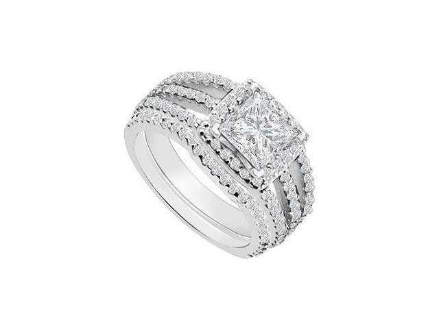 14K White Gold Princess Cut Diamond Engagement Ring with Wedding Band Sets 1.50 CT TDW