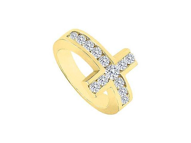 Sideways Cross Ring with CZ Channel Set in 14K Yellow Gold 1.50 Carat Total Gem Weight