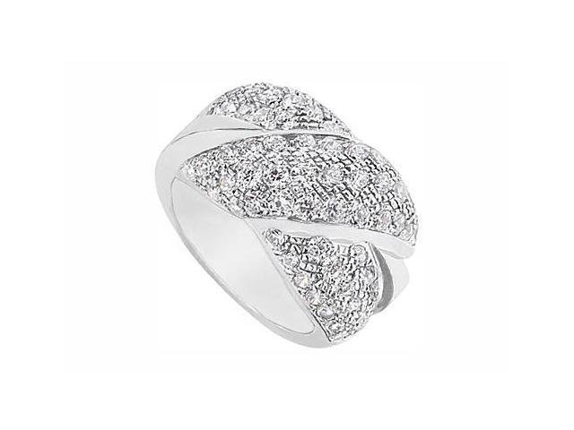 2 Carat Cubic Zirconia ring in 14K White Gold Double Crossover Fashion Ring