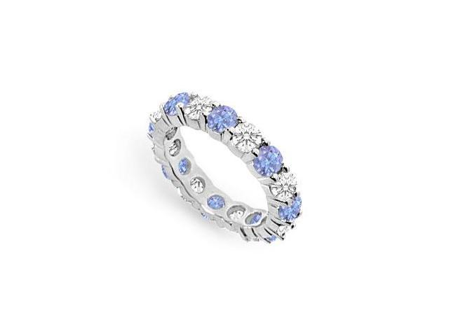 Created Tanzanite Eternity Band with CZ Four Carat on 925 Sterling Silver