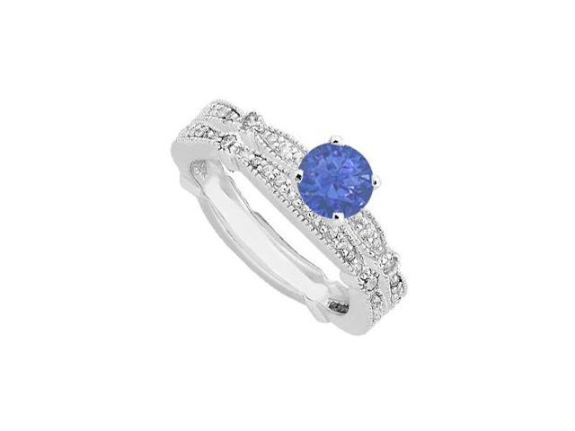 Diamond and Sapphire Engagement Ring in 14K White Gold 1.35 Carat Total Gem Weight