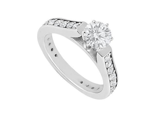 1 Carat Engagement Ring with Triple AAA Quality Cubic Zirconia in 14K White Gold Finish