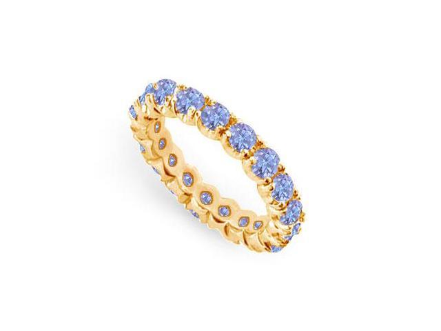 Created Tanzanite Eternity Ring Stackable Band 18K Yellow Gold Vermeil. 2 ct.tw