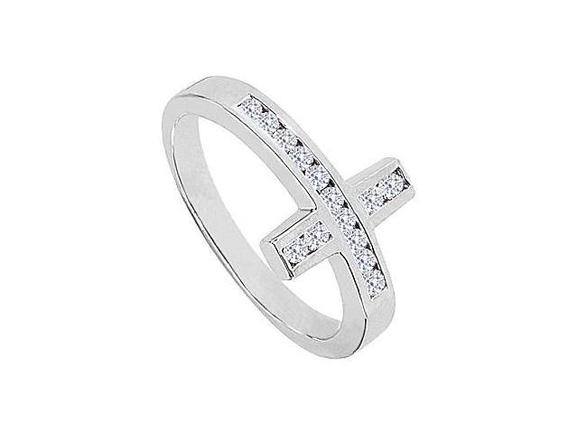CZ Sideways Cross Ring in 14K White Gold 0.33 Carat Total Gem Weight
