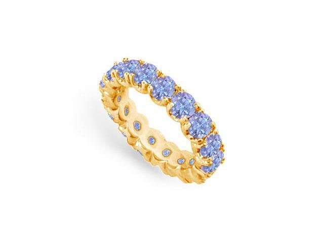 Created Tanzanite Eternity Ring Stackable Band 18K Yellow Gold Vermeil. 4ct.tw