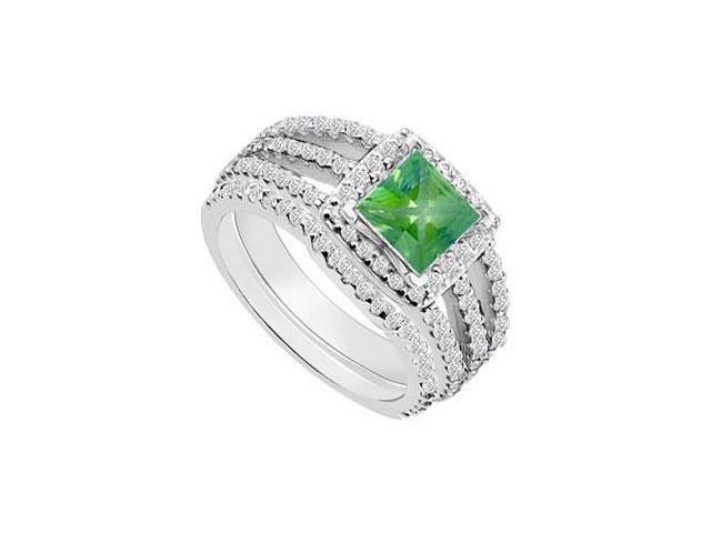 14K White Gold Princess Cut Emerald  Diamond Engagement Ring with Wedding Band Sets 1.50 CT TGW