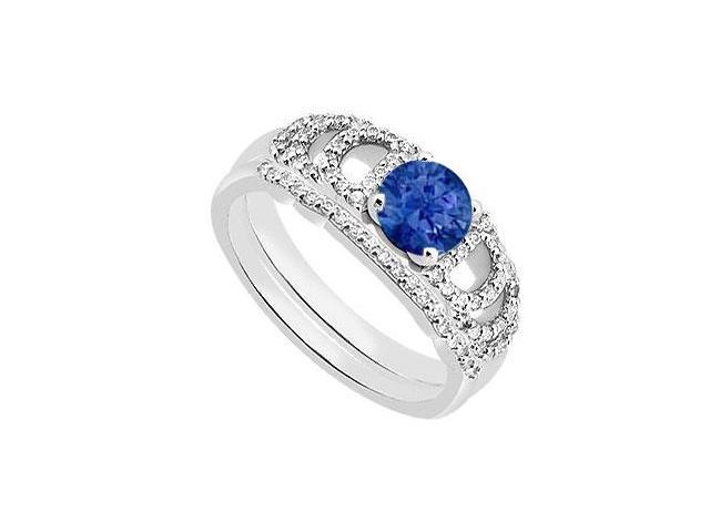 Blue Sapphire Diamond Engagement Ring with Wedding Band in 14K White Gold 1.10 Carat TGW