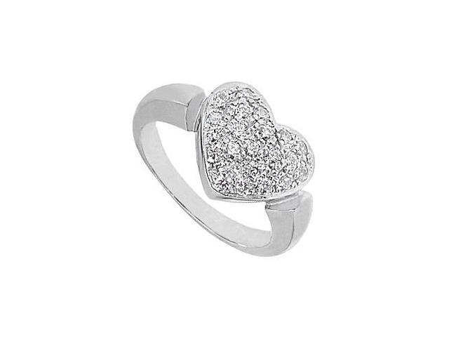 CZ Heart Fashion Ring in 14K White Gold 0.66 Carat Total Gem Weight