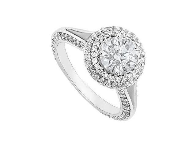 14K White Gold Cubic Zirconia Engagement Ring of 1.25 Carat Total Gem Weight