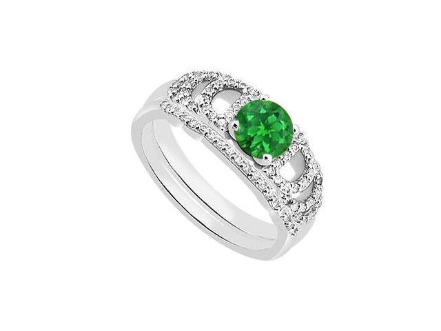 Green Emerald and Diamond Engagement Rings with Wedding Ring Sets 1.10 Carat TGW