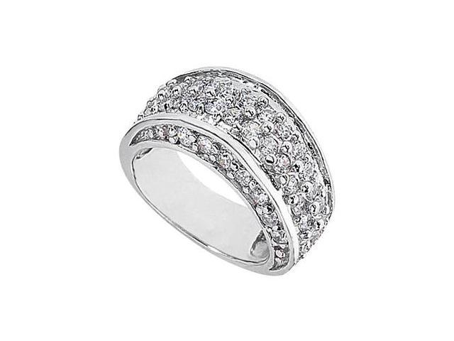 14K White Gold Pave Cubic Zirconia Fashion Ring with 1.75 Carat Total Gem Weight
