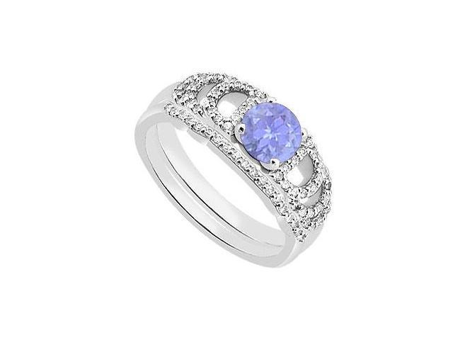 Diamond Tanzanite Engagement Ring with Diamond Band Sets in 14K White Gold 1.10 Carat TGW
