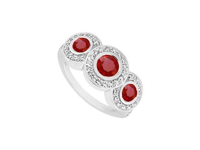 GF Bangkok Ruby and Cubic Zirconia Engagement Ring .925 Sterling Silver 0.66 CT TGW