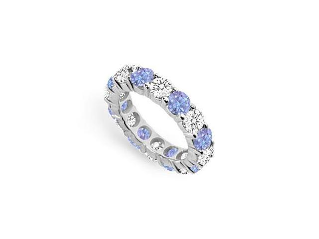 Created Tanzanite and CZ Eternity Band in Sterling Silver Seven Carat TGW.