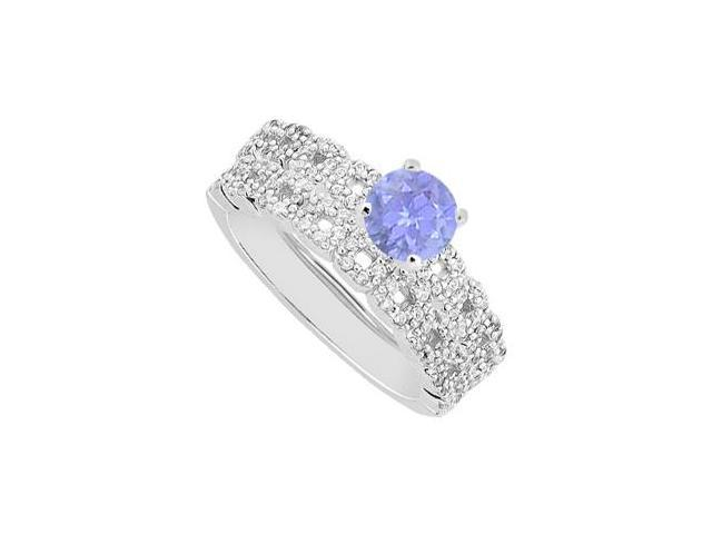 Tanzanite and Diamond Engagement Ring with Wedding Band Sets in 14K White Gold 1.25 Carat TGW