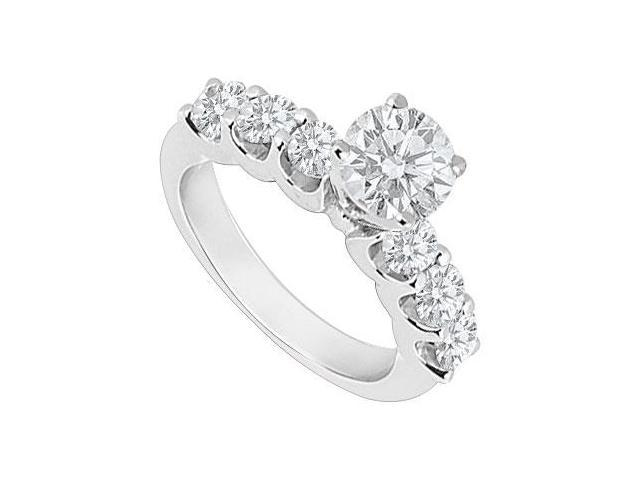 1 Carat Engagement Ring of Triple AAA Quality Cubic Zirconia Set in 14K White Gold