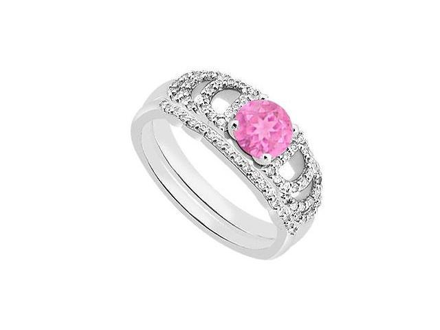 Diamond Pink Sapphire Engagement Ring with Diamond Bands in White Gold 14K 1.10 Carat TGW