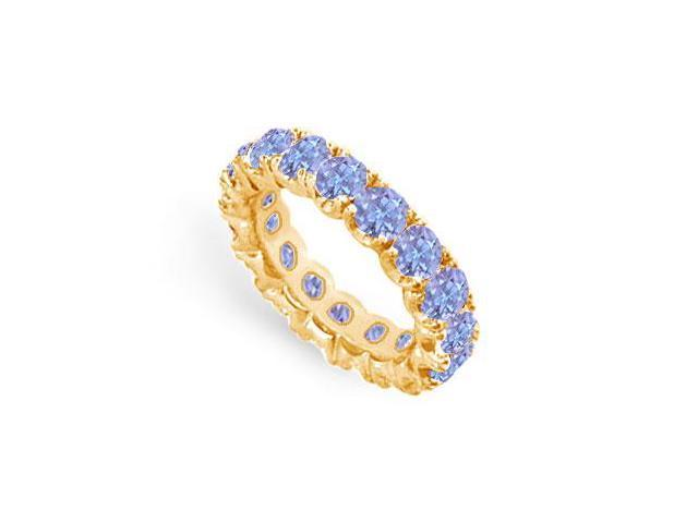 Created Tanzanite Eternity Ring Stackable Band 18K Yellow Gold Vermeil. 6ct.tw