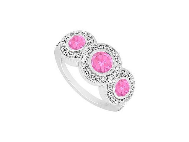 Created Pink Sapphire and Cubic Zirconia Engagement Ring .925 Sterling Silver 0.66 CT TGW