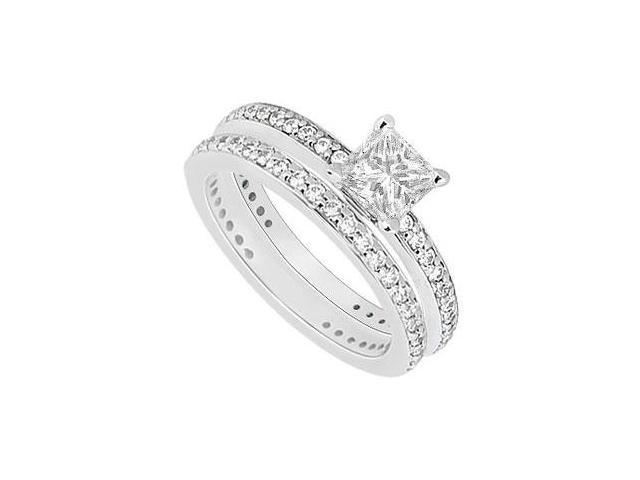 14K White Gold Princess Cut Diamond Engagement Ring with Wedding Band Sets 1.00 CT TDW