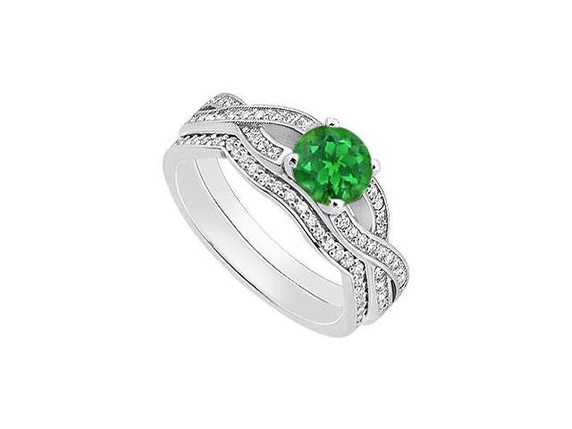 Diamond and Natural Emerald Engagement Ring with Diamond Bands in 14K White Gold 1.10 Carat TGW