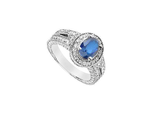 Diffuse Sapphire and Cubic Zirconia Ring 10K White Gold 3.75 Carat Total Gem Weight