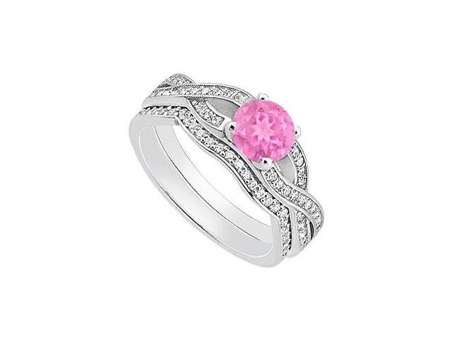 Pink Sapphire Engagement Ring with Diamond Wedding Rings in 14K White Gold 1.10 Carat TGW