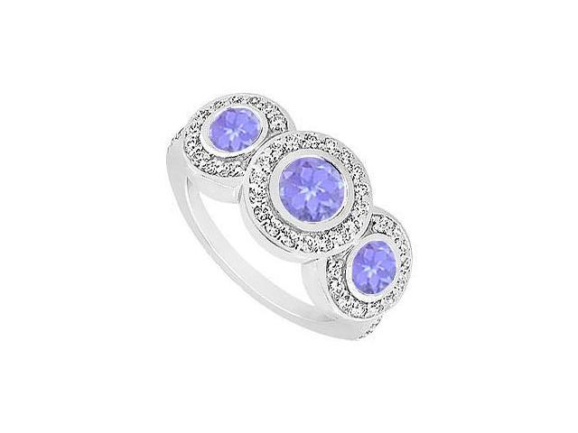 Created Tanzanite and Cubic Zirconia Engagement Ring .925 Sterling Silver 0.66 CT TGW