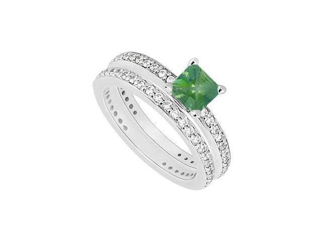 14K White Gold Princess Cut Emerald  Diamond Engagement Ring with Wedding Band Sets 1.00 CT TGW