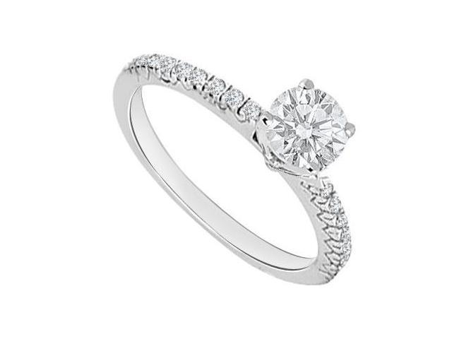Engagement Ring in Polished 14K White Gold Cubic Zirconia 0.75 Carat Total Gem Weight