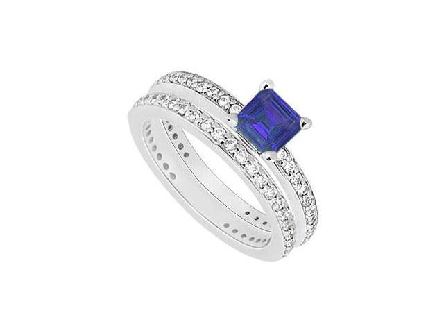 14K White Gold Blue Sapphire  Diamond Engagement Ring with Wedding Band Sets 1.00 CT TGW