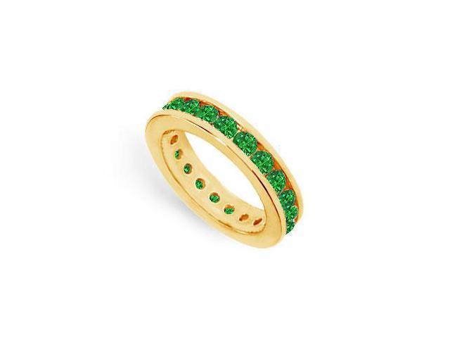 Created Emerald Eternity Ring Stackable Band 18K Yellow Gold Vermeil. 2ct.tw