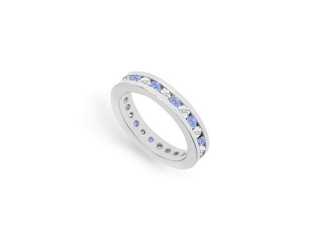Eternity Ring CZ and Tanzanite Created in 925 Sterling Silver Channel Set. 1CT. TGW.